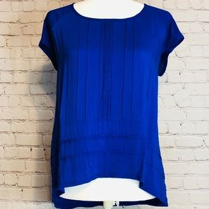 Cynthia Rowley Royal Blue Blouse Lace Detail L